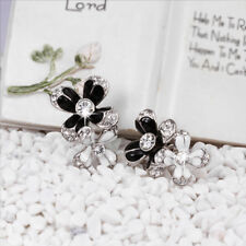 18k White Gold Filled Black White Enamel 2in1 Flower Stud Earrings
