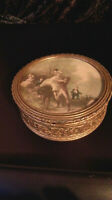 COFFRET BOITE A BIJOUX XIX NIII bronze avec miniature peinte bon état