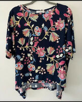 Joseph Ribkoff Navy Blue Floral Print Blouse Women's Size 12