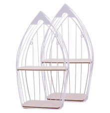 Design Wandregal mit 2 Böden Metall Holz Küchenregal Bad Regal Gewürzregal 55cm