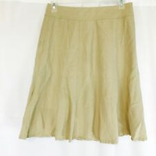 Coldwater Creek 75% Silk A-line Khaki Skirt Below-Knee Modest Women's SIZE 12