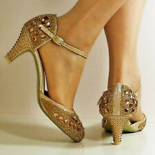 NEW Ladies Sparkly Diamante Ankle Strap Party Mid Low Heel Court Shoe Size-428