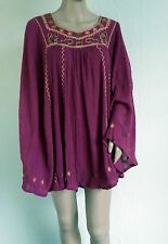 NEW TOPSHOP purple cotton caftan cape poncho no sleeves boho festival hippie