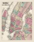 "Vintage Street Map of New York City CANVAS PRINT poster 16""X12"""