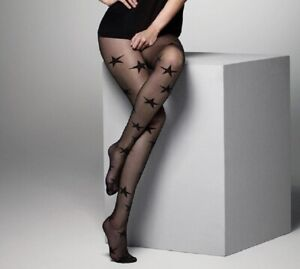 """Womens Large Stars Patterned Sheer Tights """"Melody"""" 15 Denier S M L"""