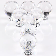 8X Clear Diamond Crystal Glass Door Knobs Handles Drawer For Wardrobe Cabinet