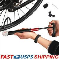 Bike Pump Mini Portable Bicycle Tire Air Foot Pump With Pressure Gauge Cycling
