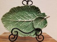 Sur la Table Green Cabbage Leaf serving dish with dip bowl~Made in Portugal~New