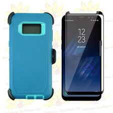 Cyan TL Samsung S8 Case w/ Tempered Glass Screen & Clip Fits Otterbox Defender
