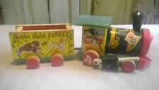Vintage Fisher Price 191 Golden Gulch Express Train Wood Pull Toy