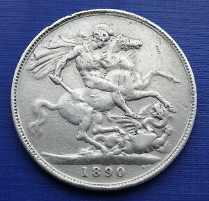 Great Britain One Crown Coin~1890 Victoria~KM#765~ .925 Silver 28.2g~Fine~B2A