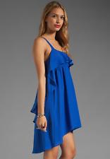 Susana Monaco ODILIA Ruffle Edge Dress Teal Indigo Lapis Sz 6 Med Sold Out $198