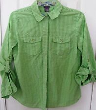 LAURA SCOTT-Petite SP-Button Up Blouse Green Gingham-Long or 3/4 Cuffs sleeves