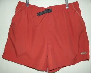 "Columbia Mens XL Burnt Orange Rust Hiking Swim Nylon Shorts Trunks 5-1/2"" inseam"