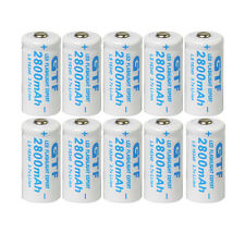 10x 3.7V CR123A 123A CR123 16340 2800mAh GTL Rechargeable Battery Cell White