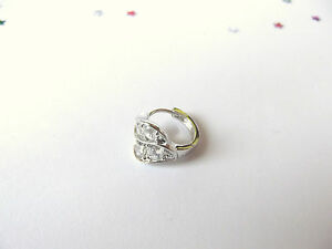 GOOD QUALITY Mens 9ct White Gold Plate Earring
