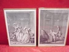 2 hermosas, vieja imágenes __ escenas de la 18ten JH. __ firmada y fechada: 1774-78 __!