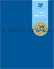 1966 Cadillac Optional Specifications Book Deville Eldorado Fleetwood Calais