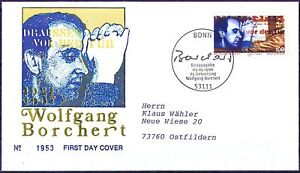 Frg 1996: Wolfgang Borchert! FDC Der No 1858 With Bonner Stamp! Used! 1604
