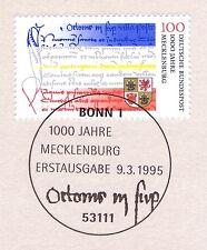 BRD 1995: Mecklenburg 1000 Jahre! Nr. 1782 mit Bonner Ersttags-Sonderstempel! 1A