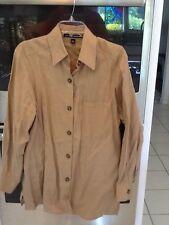 Ellen Tracy Size 8 Camel 100% Linen Blouse