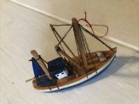 "Miniature Wood Fishing Sail Boat Christmas Tree Ornament Blue 3"" Long"