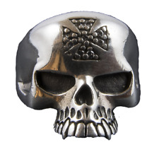 Skull Iron Cross Bling Ring 925 sterling silver Metal Biker Gothic feeanddave