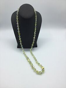 VINTAGE AB CRYSTAL GLASS BEAD NECKLACE MULTI FACETED Long Single STRAND #AN673
