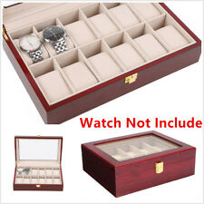 1x Watch Display Case Wooden Glass Top Jewelry Storage Organizer Box Red Gifts
