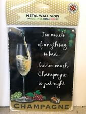 Champagne - SMALL - Tin Metal Wall Sign *Top 100*