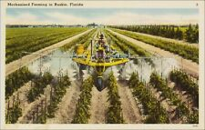 Agriculture: Farm Machinery, Man Rides Sprayer in Field, Ruskin, FL. Linen.