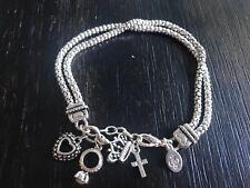 Premier Designs 2 Strand Silver Tone Charm Bracelet Heart Crown Ring Dangles