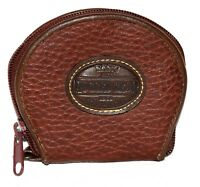 Roger Gimbel Basic Rugged Gear Brown Pebbled Faux Leather Zip Around Coin Purse