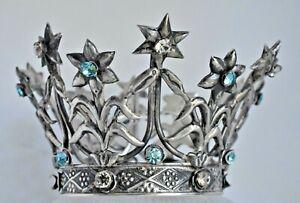 Antique French Sterling Silver Flowers & Star Tiara Saint Santo Crown Coronet