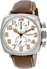 Akribos XXIV AK786WT Date Brown Leather Strap Watch (Express Delivery)