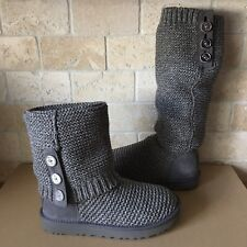 UGG CARDY PURL KNIT BUTTON CHARCOAL GREY CLASSIC TALL / SHORT BOOTS SIZE 7 WOMEN