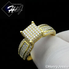 WOMEN 925 STERLING SILVER LAB DIAMOND GOLD/SILVER ICED OUT BLING RING*SR81