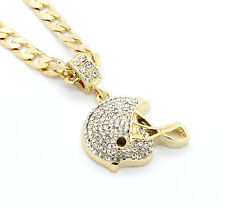 "Mens Gold Plated Iced Out Football Helmet Small Pendant 24"" Cuban Necklace Chain"