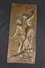 French Hand Crafted Large Bas Relief Plaque Woman Face Bronze Sculpture Statue