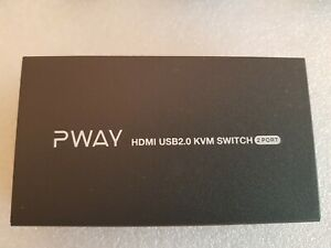 PWAY HDMI KVM Switch 2 Port Support 4K@30Hz Y:U:V: 4:4:4 with 2 PC + Cables