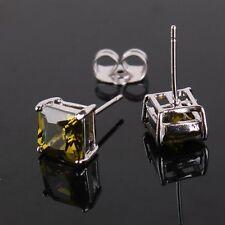 Distinctive 18k white gold filled charming woman  peridot woman stud earring