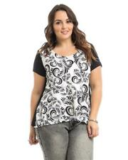 NEW..Plus Size Black & White Scroll Print Top with Overlap Back..Sz18/2xl
