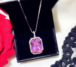 Super Shining Pink Gemstone Pendant Necklace, S925 Sterling Silver Necklace