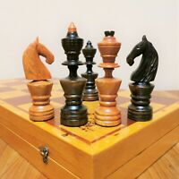 Fastship Hand carved chess set Wooden russian soviet vintage  USSR antique