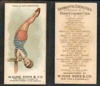 "1887 N77 DUKE SONS & CO.  GYMNASTIC EXERCISES   "" paraller bar  handspring "" 521"