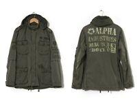 Vintage Mens ALPHA INDUSTRIES Filed Jacket M-65 Military Coat Green Size L