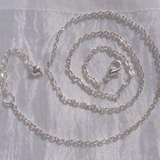 1 chaine collier sautoir metal argente maillon 3x2mm 45cm+5cm mousqueton *C121