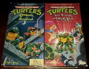 Lot TMNT Teenage Mutant Ninja Turtles Cowabunga Shredhead Super Rocksteady VHS
