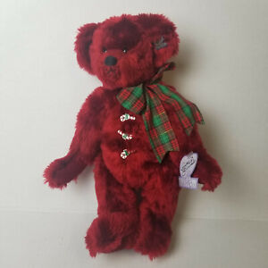 Annette Funicello Bear - 14in Red Christmas Bear with Candy Canes Buttons, Bow