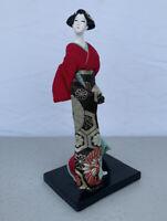 """Vintage Japanese Porcelain Geisha Figurine With Silk Cloths 8 1/2"""" Tall"""